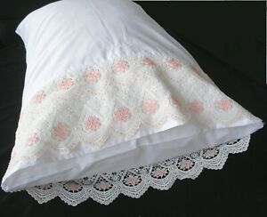 New White Cotton Sateen Embroidered Lace PillowCases  Standard Queen King Pr. S1
