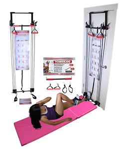 Tower 200 Door Exercise Fitness Full Body Gym + Straight Bar + 6' Gymnastics Mat