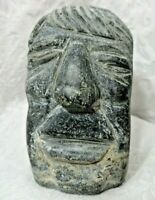 Vintage Inuit Aboriginal Soapstone Male Head Carving 83' Signed