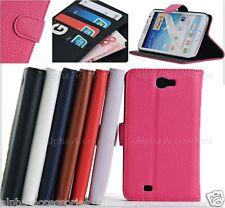 Funda para Galaxy Note II N7100 Tarjeta Plegable Soporte Cartera De Cuero Cubierta De Bolsillo UK