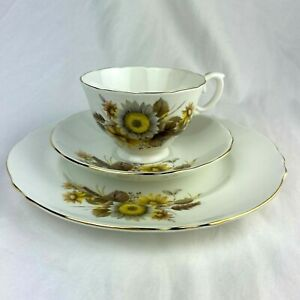 Crown Staffordshire Tea cup Saucer Dessert Plate Trio Set White Yellow Floral