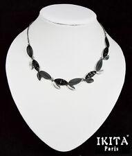 Luxus Halskette Kette Emaille Ikita Paris Metall Grau Statement Collier Blatt