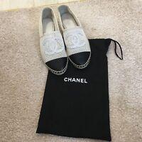 Chanel Paris Black & White Mesh Espadrilles Shoes Size EU 37 UK 5