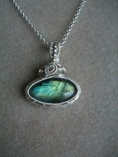 Handmade Silver Plated Wire Wrapped Labradorite  Gemstone  Pendant Necklace