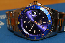 mens croton mechanical automatic blue dial bezel watch wristwatch date