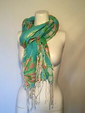 Lilly Pulitzer MURFEE Long Scarf Cashmere Silk Blue Green Pink Excellent!