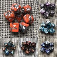7Pcs TRPG Würfel-Set Dungeons & Dragons Würfelset D4-D20 Würfelspiel Multi-sided