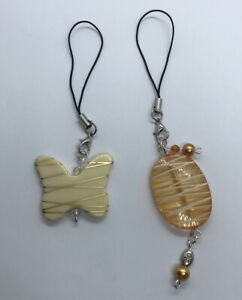 2 Orange & Tan Mobile Cell Phone Charm Dangle Plastic Bead Butterfly Beaded