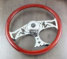 "Steering Wheel & Hub Kit: 18"" Chrome Bettie Light Wood (Freightliner)"""