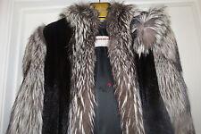 Designer Hooded Full Length black Mink fur & Silver Fox Fur Coat Jacket S-M 2-8
