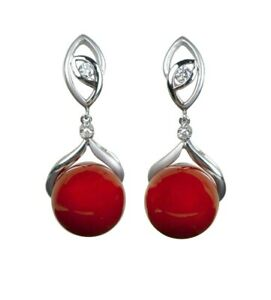 Natural red aka coral bead and diamond earrings in 14K mounting