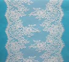 3 Meters White Rayon French Style Chantilly Eyelash Double Edge Lace Trim 35cm