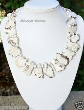 White Howlite slab Freefrom Beautiful Garland Chunky Necklace Handmade brand new