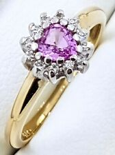 9k Pink Sapphire/Diamond RING_375 Two Tone Gold_Halo style