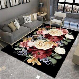3D Flower Printed Carpet Hallway Non-Slip Floor Mat Living Room Area Rug Bedroom