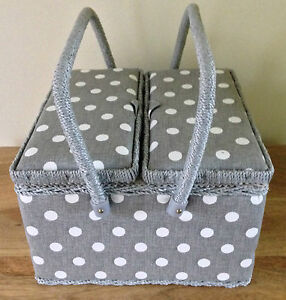 SEWING BOX BASKET Twin Lid GREY LINEN OR MOSS GREEN SPOT 'POLKA DOT' DESIGN