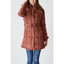 Glamsia Lady Belted Puffer Jacket w/ Fur Lined Hood Tan Size L