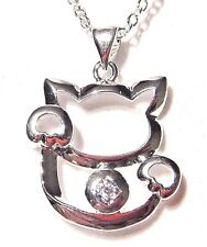 SILVER PLATE MANEKI NEKO NECKLACE good luck fortune kitty money charm pendant 1D