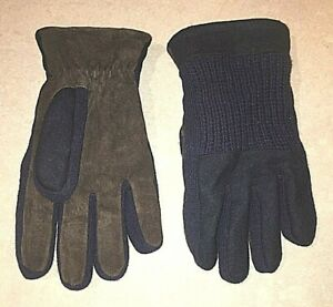 THINSULATE BLUE WOOL BROWN PIGSKIN LEATHER DRIVING WINTER GLOVES MENS SIZE LARGE