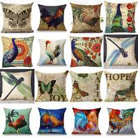 Vintage Peacock & Flowers Pillow Case Cotton Linen Sofa Cushion Cover Home Decor