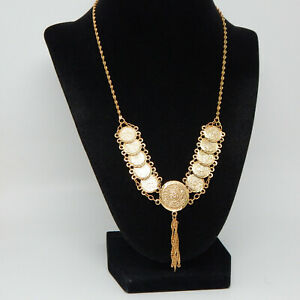 """GOLD OVERLAY 'LINKED' COIN TWIST CHAIN MID-EAST DESIGN 18.5"""" LONG NECKLACE"""