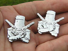 NED KELLY SMALL MOTORCYCLE EMBLEM PAIR Chrome Metal BADGES *New* Suit Harley
