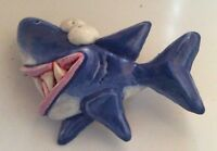 Hand-made crafted one-of-a-kind 3D shark badge brooch signed by artist new