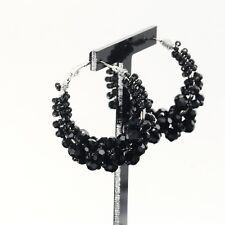 Boucles d'Oreilles Anneau Créole Argenté Perle Noir Artisanal Original M2