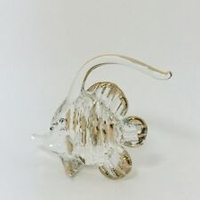 Sea Fish Animal Hand Blown Glass Painted Gold Trim Figurine