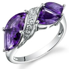 3.34 cts Amethyst and Diamond Ring in 14K White Gold