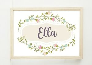 Floral, Personalised, Custom, Wall Art Home Decor