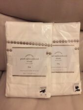 2 Pottery Barn Pearl Embroided King Shams New White & Simple Taupe $39.50 Each