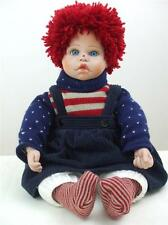 "Raggedy Ann 1980's Patriotic Doll Sweater Socks Bloomers Corduroy Skirt 19"" tall"