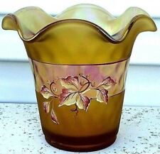 Fenton Satin Glass Vase HP Leaves Berries Signed D Robinson Label Ruffled Edge