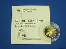 20 Euro Gold 2012 Deutscher Wald Fichte Prägestätte G - Karlsruhe)