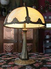 New listing Original Antique 1907 Arts & Crafts E. Miller Table Lamp, Curved Caramel Glass