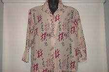 Chico's Design Silk Linen Shirt Womens Size 0 XS Ivory Asian Design Button Front