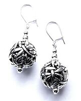 SILVER DRAGON FLY DESIGN BEAD +SILVER PLATE DROP EARRINGS WITH ORGANZA GIFT BAG