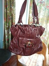 B Makowsky bohemian leather hobo bag brown pebble leather big purse