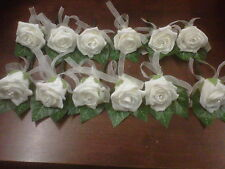 10 x Wedding  Rose  Buttonhole  Roses Package white