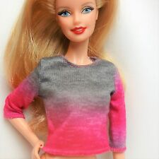Barbie long sleeve grey pink Fashion Outfit Top Clothes NO DOLL