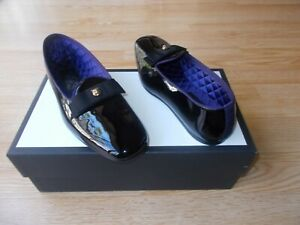 $860 Gucci Tiger Head Loafer Purple Black Patent Quilted Shoes UK 7.5 US 8.5 NEW