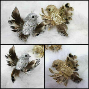 2 x 10cm CLIP ON GOLD & SILVER SPARKLY GLITTER CHRISTMAS TREE BIRDS DECORATION