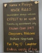 Grandparents House Rules Black Kids Cute Rustic Wooden Nanna Poppy's Wall Sign