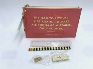 NWT Kate Spade Patent Coral Same Mistakes Pencil Pouch Ruler Eraser Sharpener