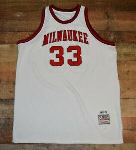 🔥 RARE-KAREEM ABDUL-JABBAR MITCHELL & NESS Milwaukee Bucks Sz 60 White Jersey 9