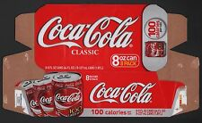 Coca Cola Cardboard 8-Pack Can Case - 2007 8oz 100 Calories Per Can Pack
