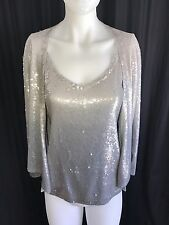 Donna Karan New York 100% Cashmere Twin Set Sweater Medium Sequins EUC 2 Piece