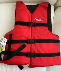 "Cabela's Deluxe Adult Flotation Vest Jacket Red Color Chest Size S/M/L(30""-52"")"
