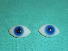 "pair of old glass eyes blue lens shape 0.68"" x 0.39"""
